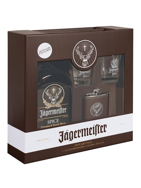 Jagermeister Spice,-2 Glasses,-Hip Flask - Егермейстер Спайс,-2 Стакана,-Фляжка